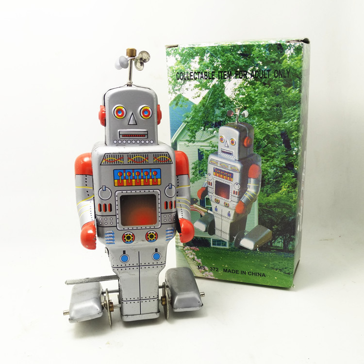 Antique Style Tin Toys Robots Wind Up Toys For Children Home Decor Metal Craft MS372 Silver Robot