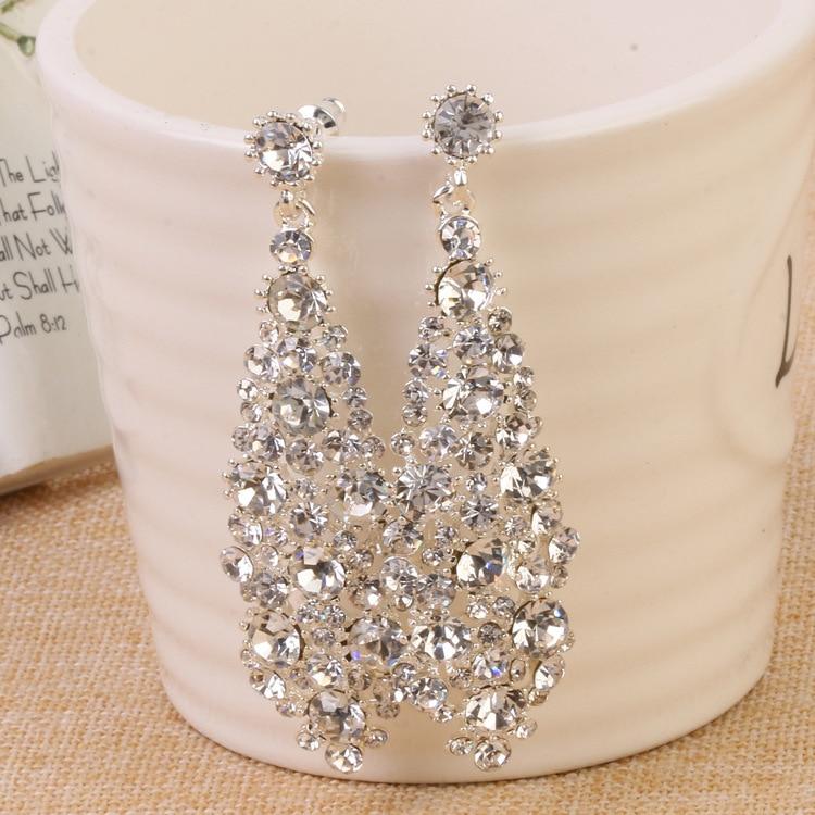 White Wedding Dress Gold Jewelry: European Style Luxury Long Earrings Earrings Ladies Bride