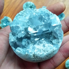 100% Natural celestine stone vug crystal ball cavity. Specimen of open clusters home decorated