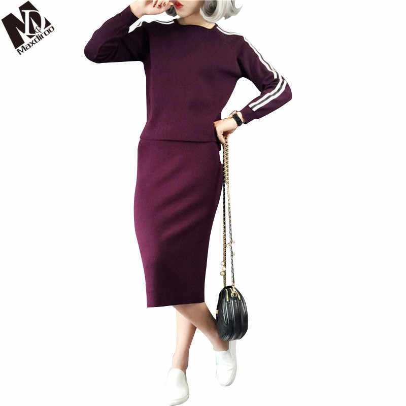 Maxdiroo Korean Women Sweat Suits Woman Suit Female Cashmere Sweater Striped Top and Skirt Set Warm Suit for Women Costume