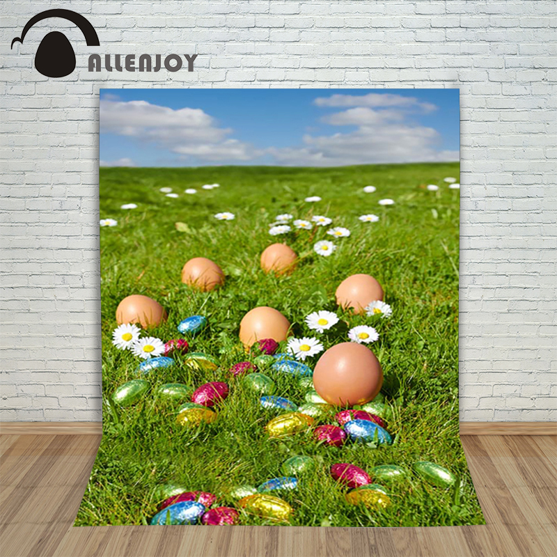 Allenjoy Easter backdrop Happpy eggs Daisy extends sky prairie professional baby photo background for studio