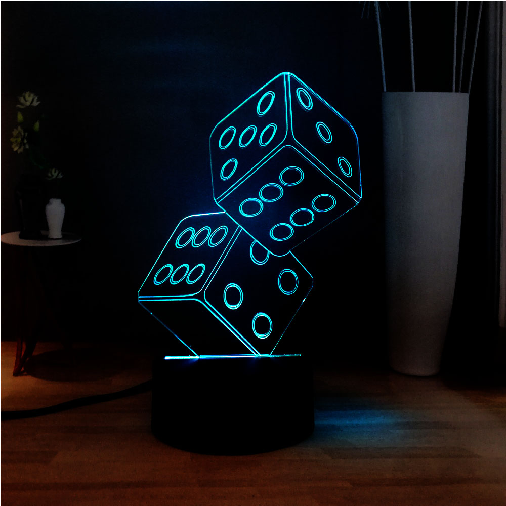 Creative 3D LED Acrylic Double Dice Illusion RGB 7 Color Change Bedside Touch Mood Light Kids Friends Holiday Gift Free Shipping image