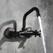 Classic Antique Brass Basin Faucet Bathroom Sink Tap Hot and Cold Spout Wall Faucet With Double Lever In Matt Black Wall Mount high quality round 3 hole wall sink basin mixer tap wels bathroom spout faucet with double lever