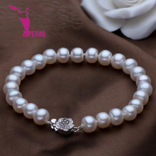 ZJPEARL 2016 new fashion design 8 9mm natural freshwater pearl bracelet 925 sterling silver jewelry buckle