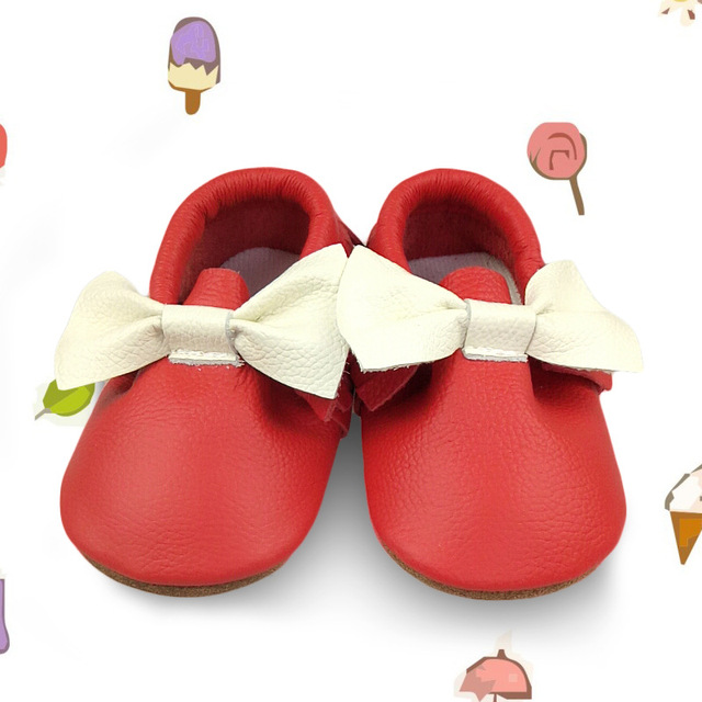 New high quality Genuine Leather Baby Moccasins Shoes with bow Baby Shoes Newborn first walker Infant Shoes hard rubber sole
