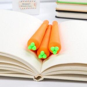 Image 4 - 1 pièces Creative mignon noir recharge neutre stylo papeterie coréen personnalisé Signature Gel stylos étudiant carotte à base deau stylo