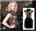 Cap Sleeve Black and Pink Lace Feather Coctail Dress