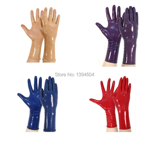 Image 1 - 2017 classic Latex Gothic Sexy Lingerie Women Short crimping Gloves Crimping Side Fetish Wrist No Fingers Female