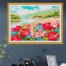 60x50 см соцветие воды лента вышивка комплект пятен живопись рукоделие комплект DIY ручной рукоделие искусство домашнего декора