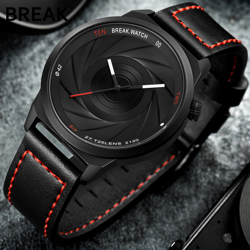 Break Fashion Casual Mens Watches Top Brand Luxury Leather Business Quartz-Watch Men Wristwatch Male Clock Relogio Masculino New new 2017 men watches luxury top brand skmei fashion men big dial leather quartz watch male clock wristwatch relogio masculino