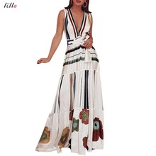 2019 womens summer sexy nightclub Maxi party long dress print halter  large size