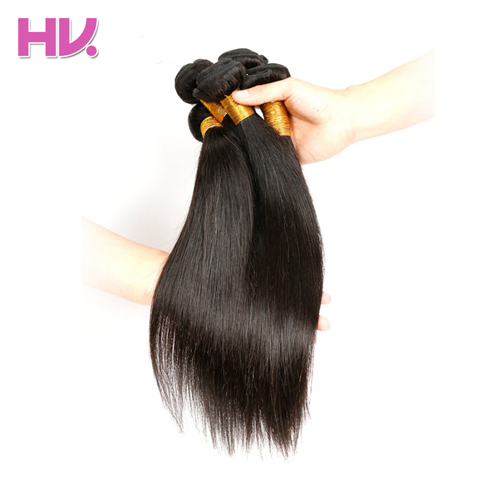 Hair Villa Brazilian Human Straight Hair 3 Bundles Hair Extensions Machine Double Weft Non Remy Hair Weave Bundles Free Shipping