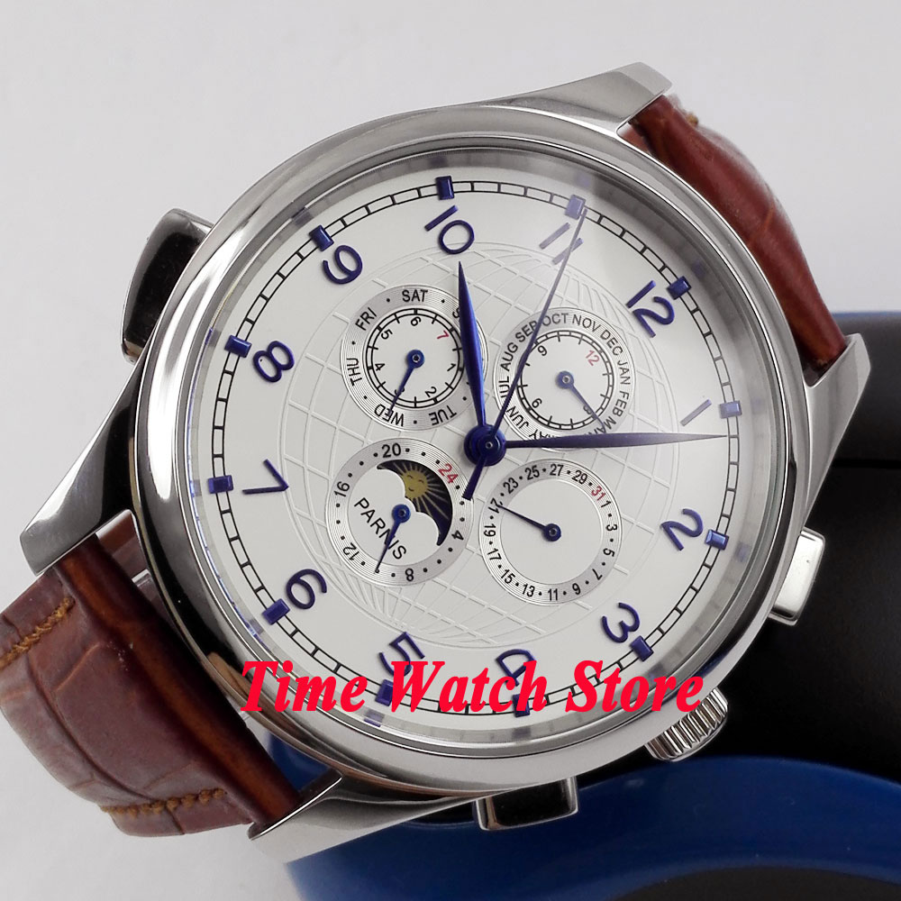 Parnis 44mm White dial Blue marks Moon Phase week and date Multifunction Automatic Self-Wind movement Mens watch P124Parnis 44mm White dial Blue marks Moon Phase week and date Multifunction Automatic Self-Wind movement Mens watch P124