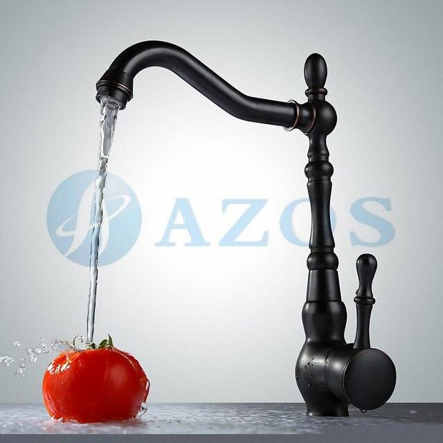 Kitchen Sink Faucets Vessel Swivel Waterfall Hose Spout Single Handle Bronze Oil Rubbed Black Wall Mounted Mixers CFLT588