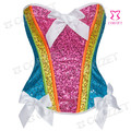 Gothic Espartilho Rainbow Color Sequined Sexy Women Corset Corsage Top Bustier Overbust Push Up Waist Trainer Corsets For Sale
