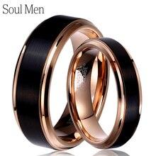 魂男性 1 ペア男性 & 女性ブラック & ローズゴールドカラータングステン超硬結婚結婚指輪セット 8 ミリメートルのための 6 ミリメートルのための