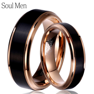 Image 1 - Soul Men 1 Pair Man & Woman Black & Rose Gold Color Tungsten Carbide Marriage Wedding Rings Set 8mm for Boy 6mm for Girl