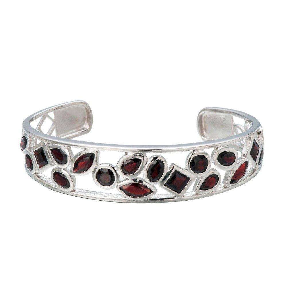 Hutang 10.21Ct Natural Black Garnet Bangle Bracelet Solid 925 Sterling Silver Real Gemstone Fine Stone Jewelry Women's Girl 6.25