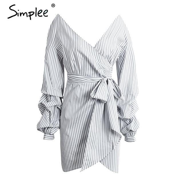 Simplee Off shoulder plaid wrap sexy dress Elegant long lantern sleeve bow belt short dress Stripe party summer dress vestidos