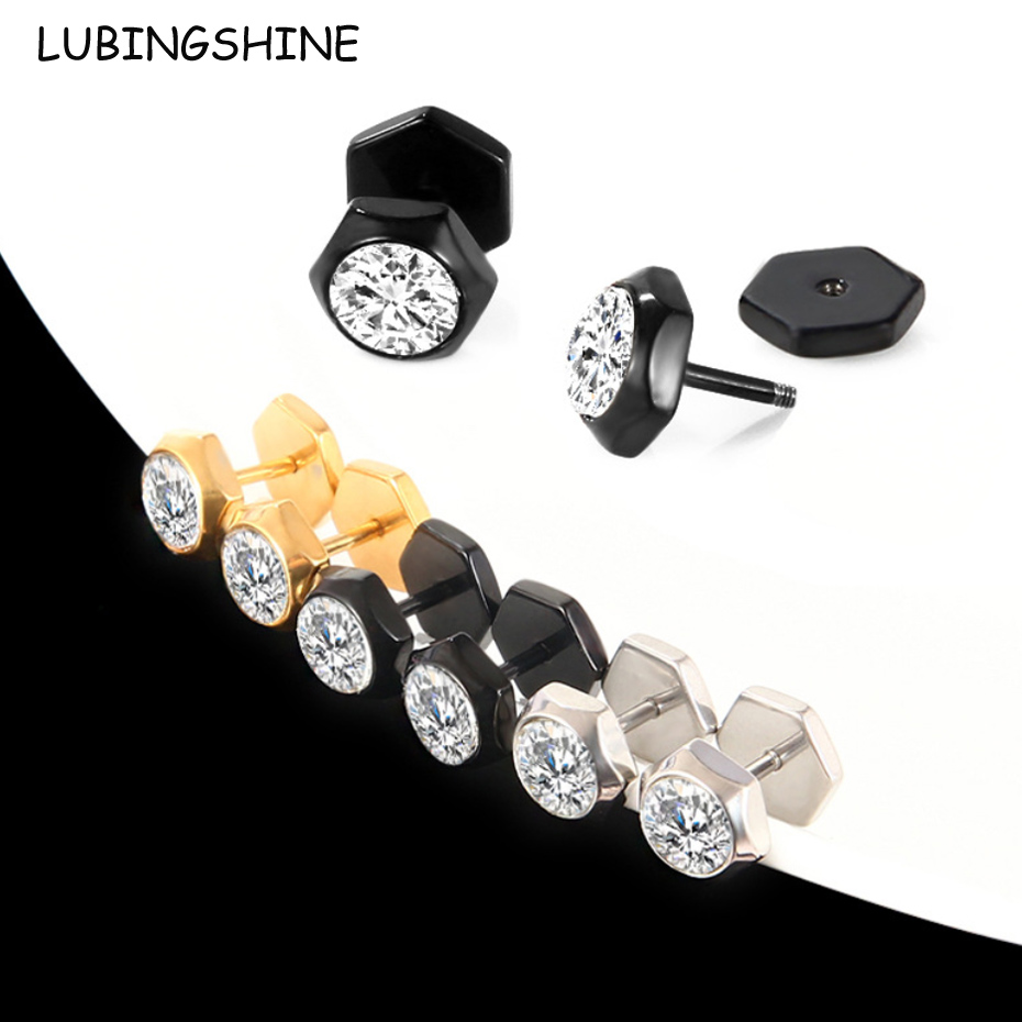 LUBINGSHINE 1 Piece Geometric Crystal Men Stud Earrings Steampunk Piercing Ear Stud For Womnen Fine Earings Jewelry E686