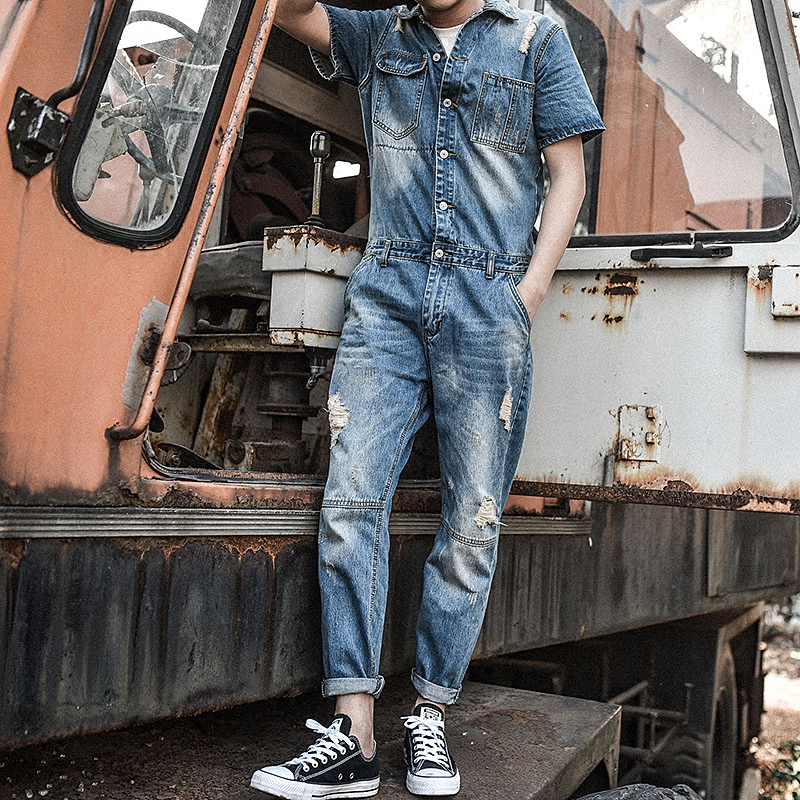 New Men's Retro Cowboy Slim Overall Long Pants Male Souvenir Korean T-Shirt Teenage Holes Trousers Blue Work clothes ! M-3XL