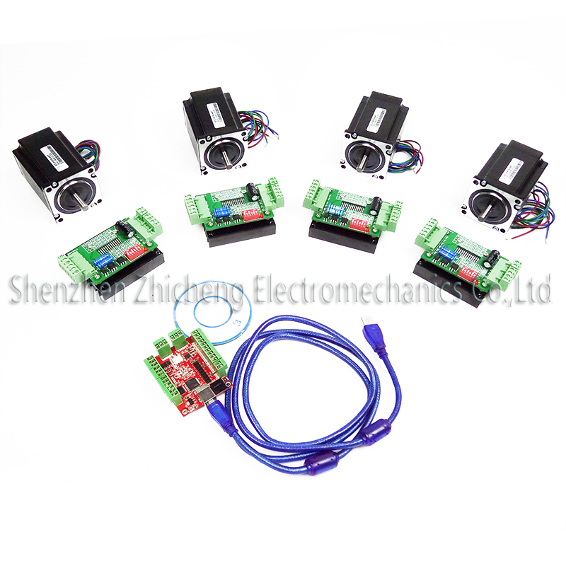 все цены на  CNC mach3 USB 4 Axis Kit, 4pcs TB6600 stepper driver+ mach3 USB stepper motor controller board+ 4pcs nema17 motor  онлайн