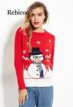 New Women Christmas Long Sleeve Sweater 2019 Winter Xmas Knitwear Cartoon Snowman Pullover Jumper Tops