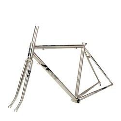 AM CR5200 Reynolds 520 çerçeve çatal yol bisikleti 700C klasik gümüş Frameset 45cm 48cm 49cm 50cm bisiklet parçaları