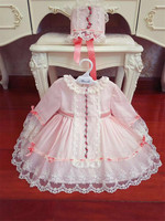 New Arrival Pink Lace Lolita Baby Girls Kids Wedding Princess Dress Girl Dress Birthday Party Pageant Dress Tulle with Hat G517
