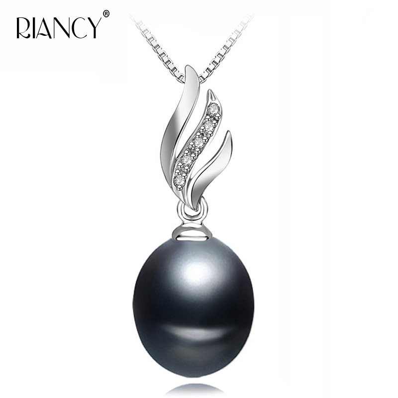 Simple Elegant Sterling Silver Jewelry Fashion Natural Freshwater Black Pearl Necklace Pendants For Women White/pink/purple/gray