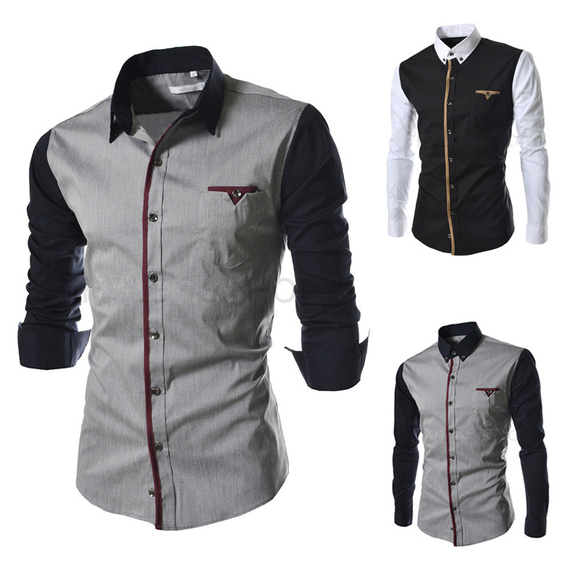 free shipping 2015 summer/spring/autumn Men shirt patchwork casual long-sleeve shirt fashion slim dress shirt men size M-XXXL ...