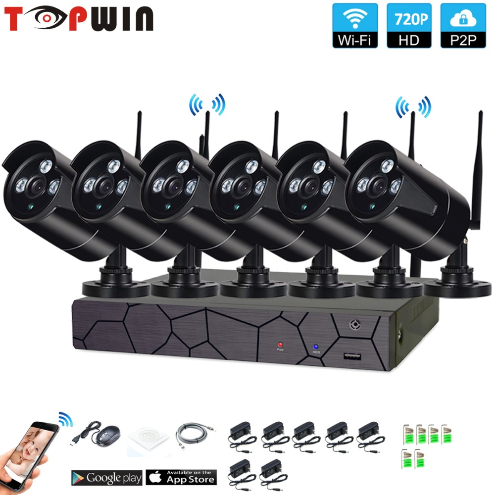 Plug and Play 6CH 1080P HD Wireless NVR Kit P2P 720P Indoor Outdoor IR Night Vision Security 1.0MP IP Camera WIFI CCTV System кукла маша simba в костюме феи с аксессуарами