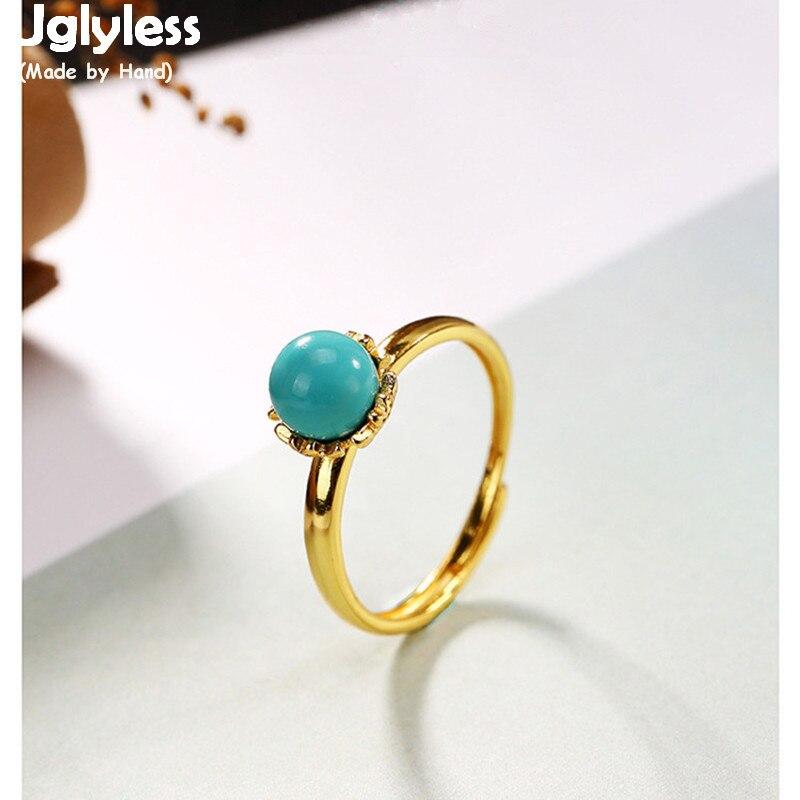 Uglyless リアル 925 スターリングシルバージュエリーボヘミアンナチュラルターコイズビーズオープンリング女性アンティークひまわりリングヴィンテージビジュー  グループ上の ジュエリー & アクセサリー からの 指輪 の中 1