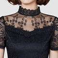 Women Summer Style Lace Blouses Sexy Plus Size Hollow Out Mesh Blusas Feminina Short Sleeve Shirt Top Blouse S-3XL C120