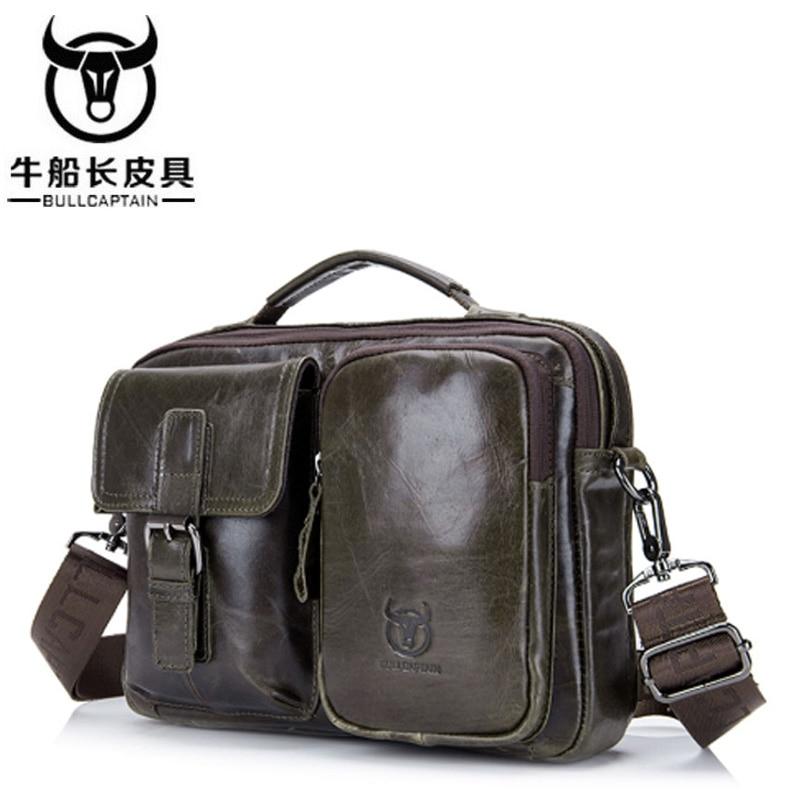 BULLCAPTAIN New Fashion cowhide male commercial briefcase Leather men Shoulder bag messenger bag casual Business bag style цены