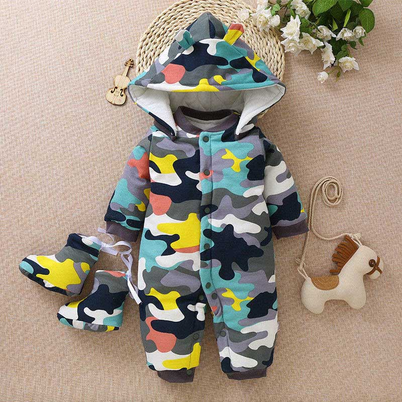 BibiCola Newborn jumpsuit Clothing Baby Boys Girls Winter Rompers Jumpsuit Clothes Toddler Infant Hooded Thick Warm Outfits