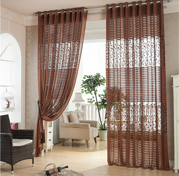 Cortinas Roller Blinds Sheer Curtains Cortina Para Sala De Estar Curtain  For The Bedroom Dark Brown Window Screening In Curtains From Home U0026 Garden  On ... Part 78