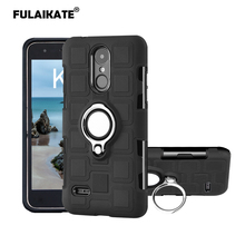 FULAIKATE Ice Cubes Cover for LG K4 2017 Eu Version Soft Back Case TPU+PC Finger Ring Stand Anti-knock Phone Protective Cases