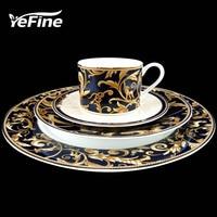 YeFine High grade Antique Thick Gold Plating Bone China Dinnerware Plates Set Steak Dishes Porcelain Tableware Set Western Style