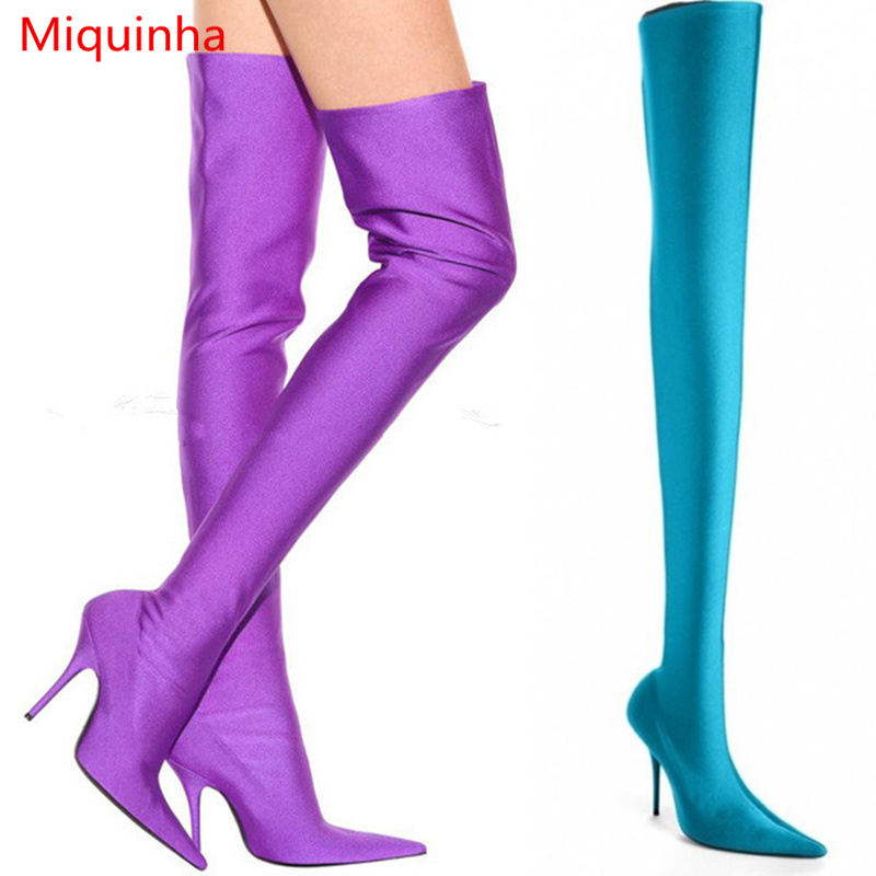 Miquinha Pointed Toe Sexy High Thin Heel Women Over Knee Boots Spring Fall Fashion Stiletto Lady Girl Super Star Runway Shoes