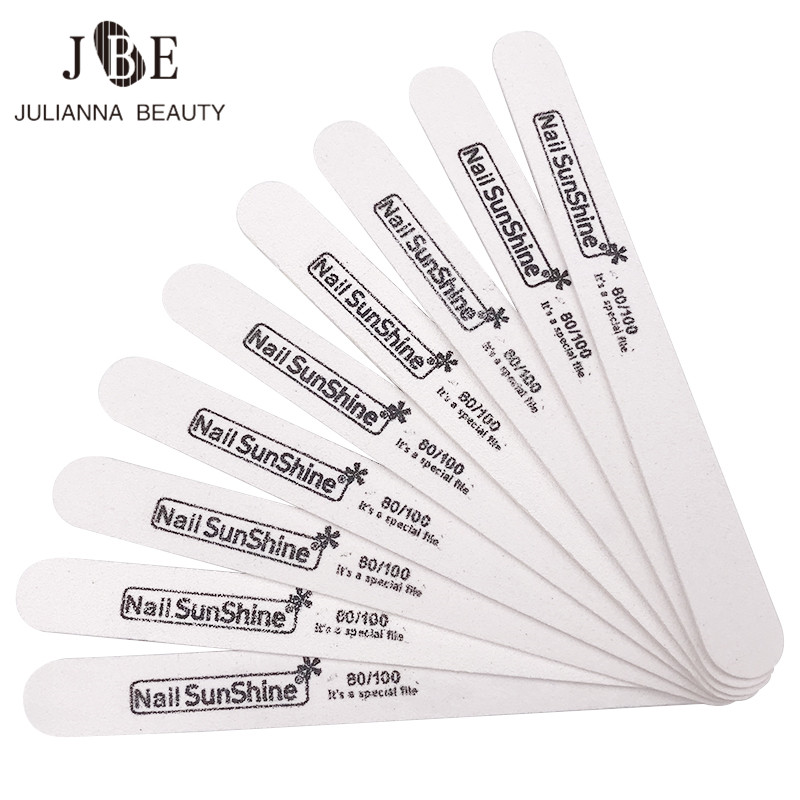 10 Pcs Strong Thick White Wood Nail Files 80/100 Sandpaper Grit Lima Buffer Manicure Wood Sanding Nails Files Tool New