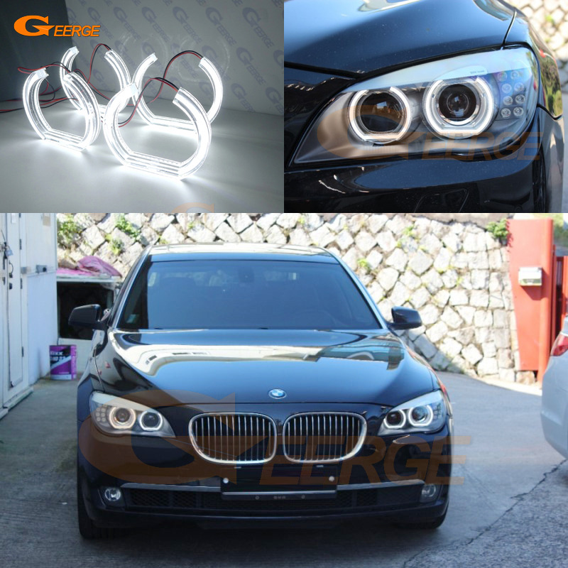 For BMW 7 Series F01 F02 F03 F04 730d 740d 740i 750i 760i 2008-2012 XENON HEADLIGHT DTM Style Ultra bright led Angel Eyes kit 2pcs white daytime running lights drl led fog lamp for bmw 7 series f01 f02 730i 740i 750i 760i 2009 2012