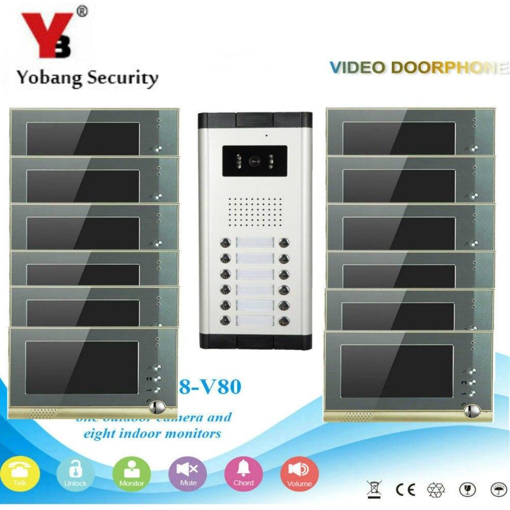 Yobangбезопасности вилла квартира глаз дверной звонок 7 TFT lcd цветной видео дверной звонок Домофон Система 1 камера 12 монитор