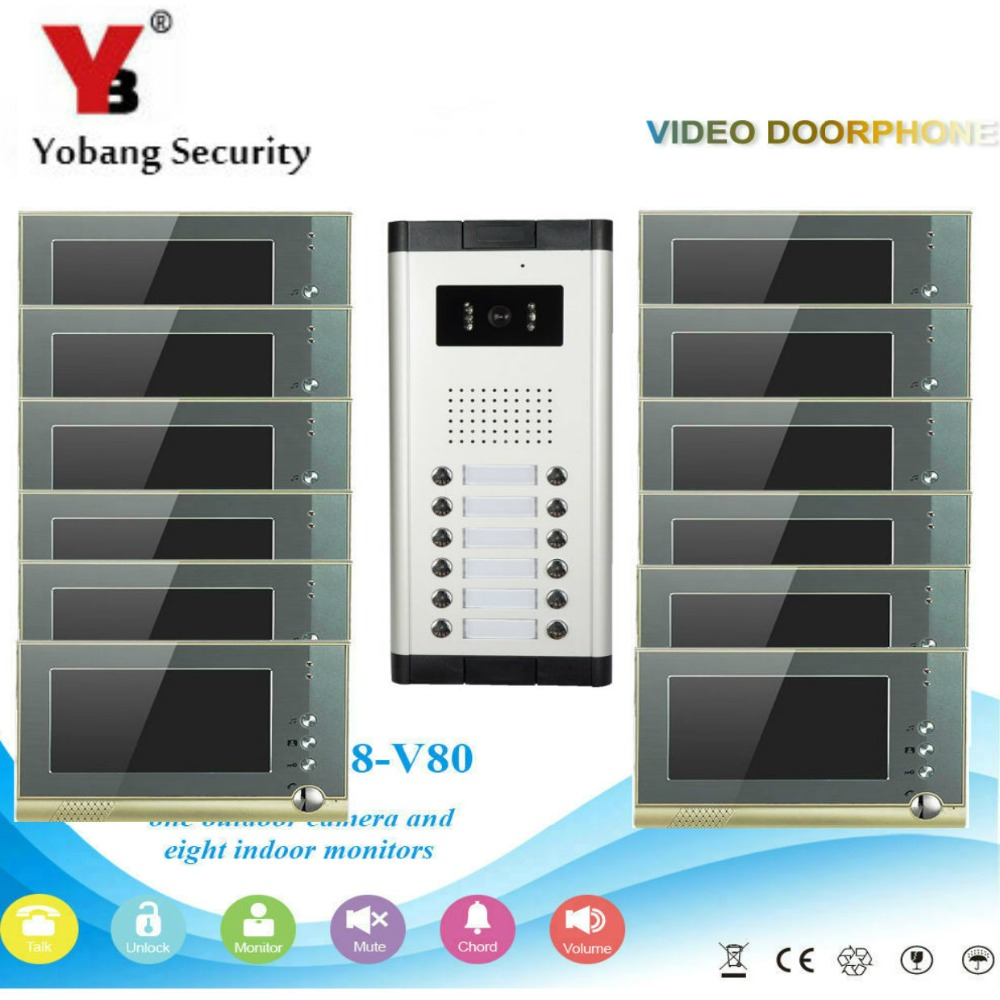 YobangSecurity Villa Apartment Eye Door bell 7TFT LCD Color Video Door Phone Doorbell Intercom System 1 Camera 12 Monitor freeship 10 door intercom security system hands free monitor color tft lcd screen intercom system video door phone for villa