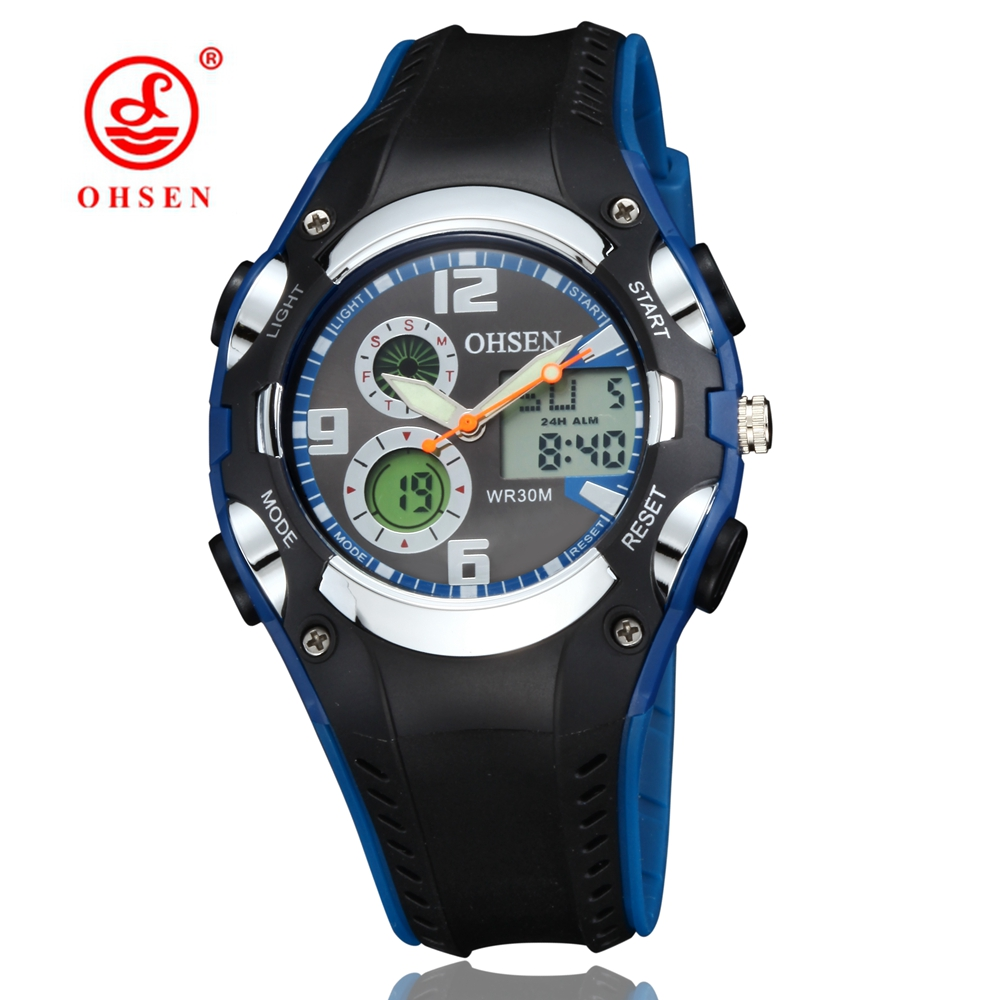 Relogio Masculino OHSEN Analog Digital Watch Men Military Rubber Band Male Quartz Electronic Wrist watches Kids Sport Watch Saat ak1275 sport acrylic dial rubber band quartz analog digital wrist watch for men black red
