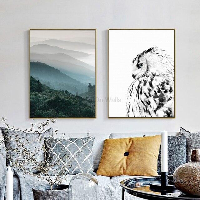 2 panneau paysage affiche hibou impression scandinave toile peinture ...