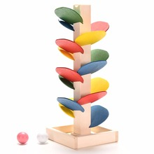 Kids Children Wooden Block Toy Gift Wooden Colorful Tree Marble Ball Run Track Game Children Educational