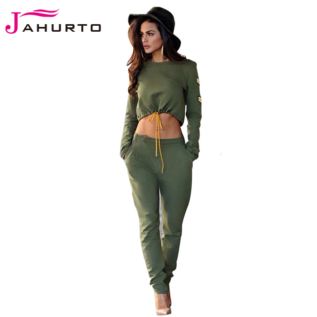 Jahurto Two Piece Top And Pant Set Patchwork Crop Tops Casual Loose Leg Long Pants Sexy Joggers Women Suit Fall Tracksuit