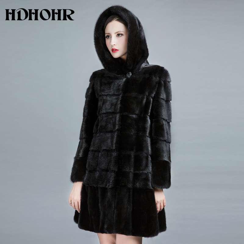 HDHOHR 2019 New Natural Mink Fur Coats Women Winter Warm With Big Hood Good Quality Long Mink Jackets Female Black Fur Parkas formal wear