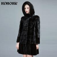 HDHOHR 2018 New Natural Mink Fur Coats Women Winter Warm With Big Hood Good Quality Long Mink Jackets Female Black Fur Parkas